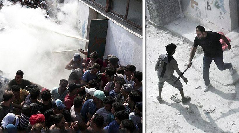 Εικόνες «πολέμου» στην Κω: Με πυροσβεστήρες και γκλομπ απωθούν τους μετανάστες