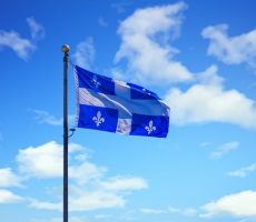 Quebec Flag on Sky
